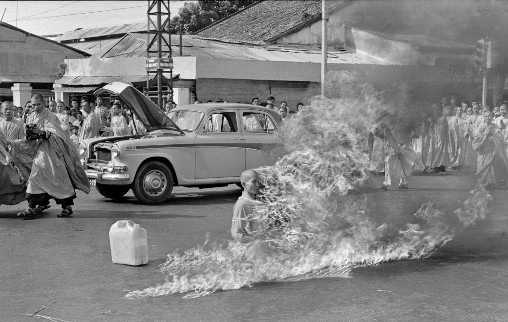 FILE - In this June 11, 1963 file photo, one of a series taken by then AP Saigon correspondent Malcom Browne, Thich Quang Duc, a Buddhist monk, burns himself to death on a Saigon street to protest alleged persecution of Buddhists by the South Vietnamese government. Browne, acclaimed for his trenchant reporting of the Vietnam War and a photo of a Buddhist monk's suicide by fire that shocked the Kennedy White House into a critical policy re-evaluation, died Monday night, Aug. 27, 2012 at a hospital in New Hampshire, not far from his home in Thetford, Vt. He was 81. (AP Photo/Malcolm Browne)/NYMB108/570742492506/ JUNE 11, 1963 FILE PHOTO/1208281826